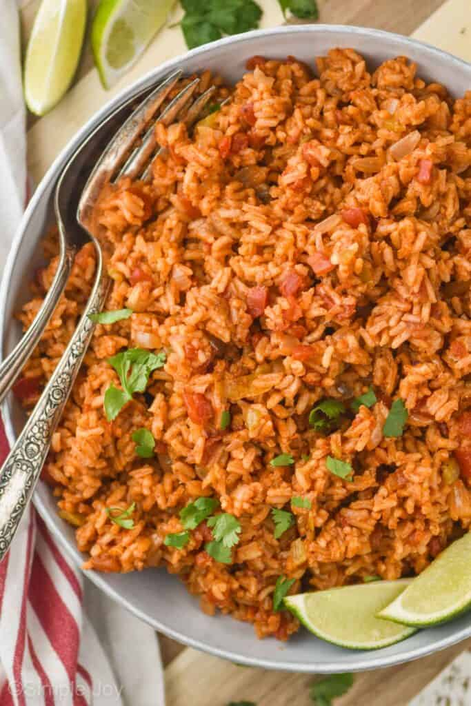 overhead view of a bowl of homemade Spanish rice