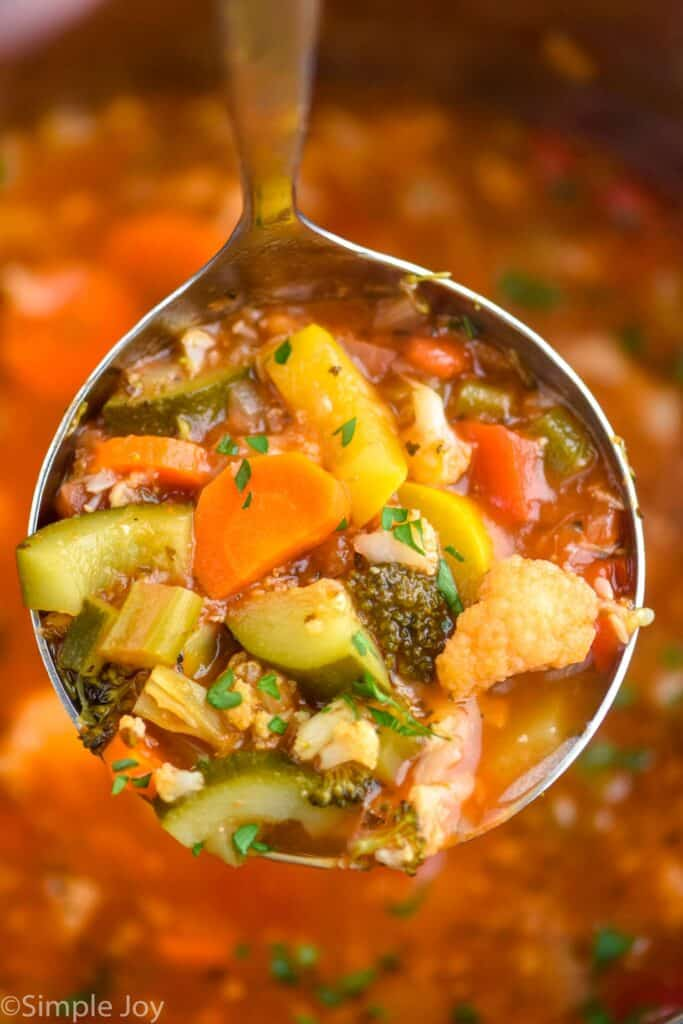 a close up of a ladle of vegetable soup