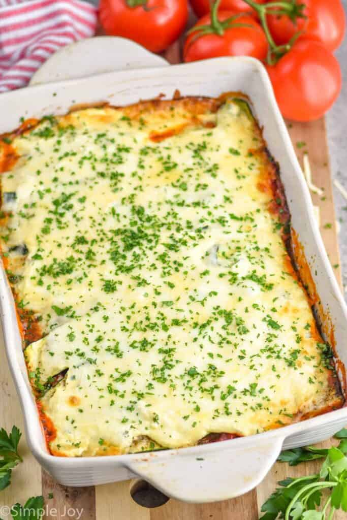 side view of low carb vegetable lasagna recipe