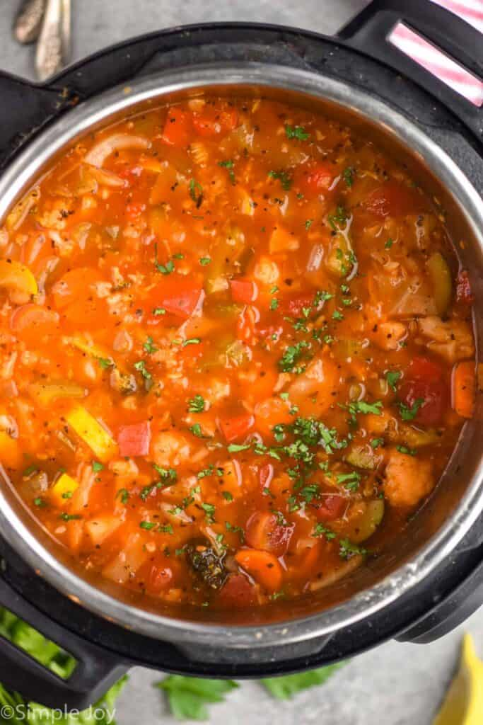 overhead view of vegetable soup in an instant pot