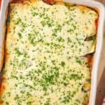 overhead view of a pan of zucchini lasagna recipe