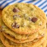 close up stack of banana chocolate chip cookies as a Pinterest graphic