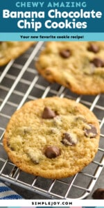 banana chocolate chip cookie on a cooling rack