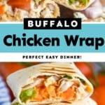 pinterest graphic of buffalo chicken wrap