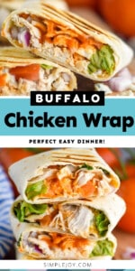 pinterest graphic of buffalo chicken wrap