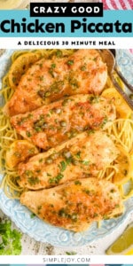 Pinterest graphic of piccata chicken showing overhead view of chicken on a bed of spaghetti