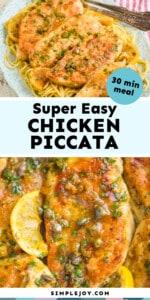 Pinterest graphic of piccata chicken