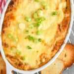 overhead view of a casserole dish full of crab dip