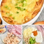 Pinterest graphic with images of crab dip