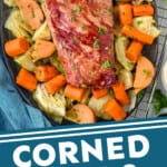 corned beef and cabbage on a platter with a graphic of the words underneath