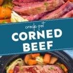 pinterest graphic of slow cooker corned beef