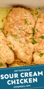 pinerest graphic overhead image of a close up piece of baked sour cream chicken