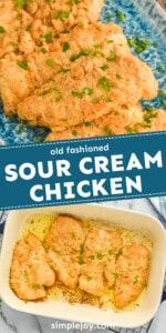 pinterest graphic of sour cream chicken