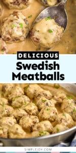 pinterest graphic of Swedish meatball photos