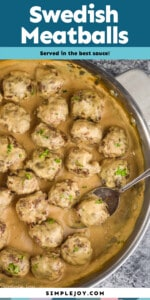 pinterest graphic of overhead of a pan of swedish meatballs in sauce garnished with parsley