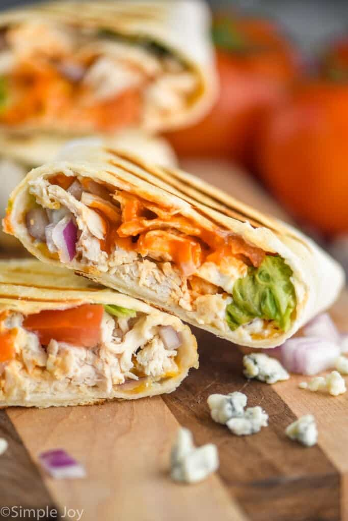 close up cross section of a buffalo chicken wrap