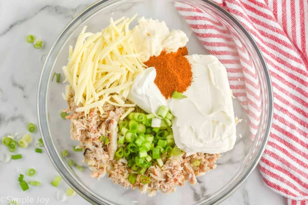 overhead view of ingredients fo hot crab dip recipe