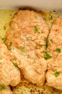overhead image of a close up piece of baked sour cream chicken