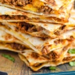 pinterest graphic of stack of beef quesadillas