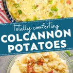 pinterest graphic collage of colcannon photos