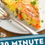 pinterest graphic of close up picture of a frittata recipe on a white plate garnished with parsley and parmesan