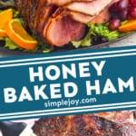 pinterest graphic of honey baked ham