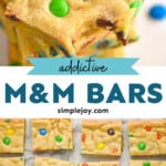 pinterest graphic of m&m cookie bars