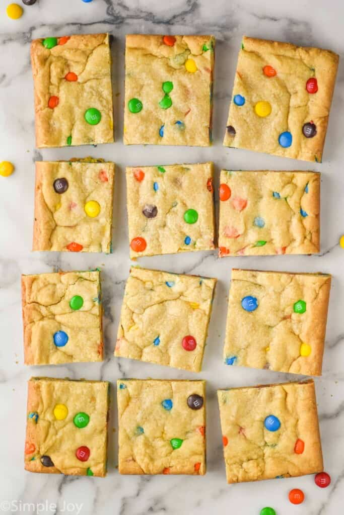 overhead view of m&m cookie bars cut up