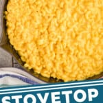 pinterest graphic of overhead view of a skillet full of Mac and cheese