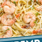 pinterest graphic of up close picture of shrimp with fettuccine
