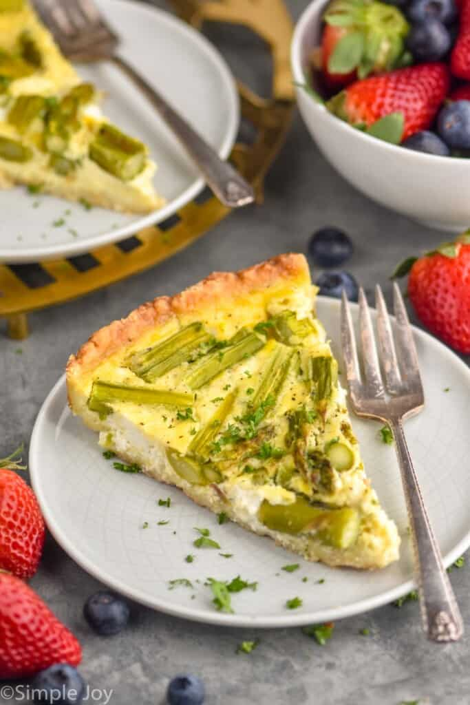 a piece of quiche on a plate