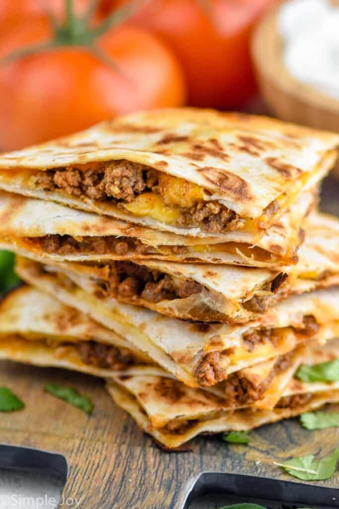 stack of beef quesadillas