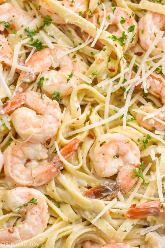 up close picture of shrimp with fettuccine garnished with parmesan and parsley