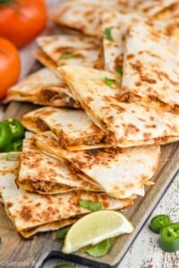 beef quesadillas on a platter