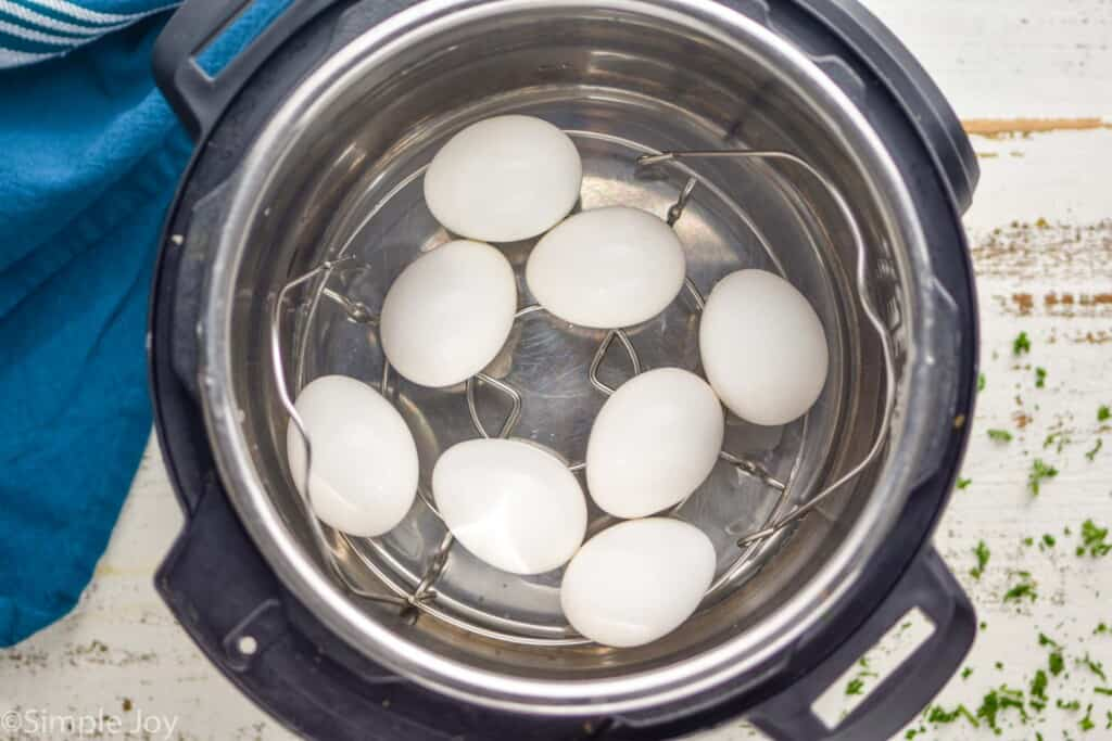 overhead view of eggs in an instant pot, with the steamer basket inside