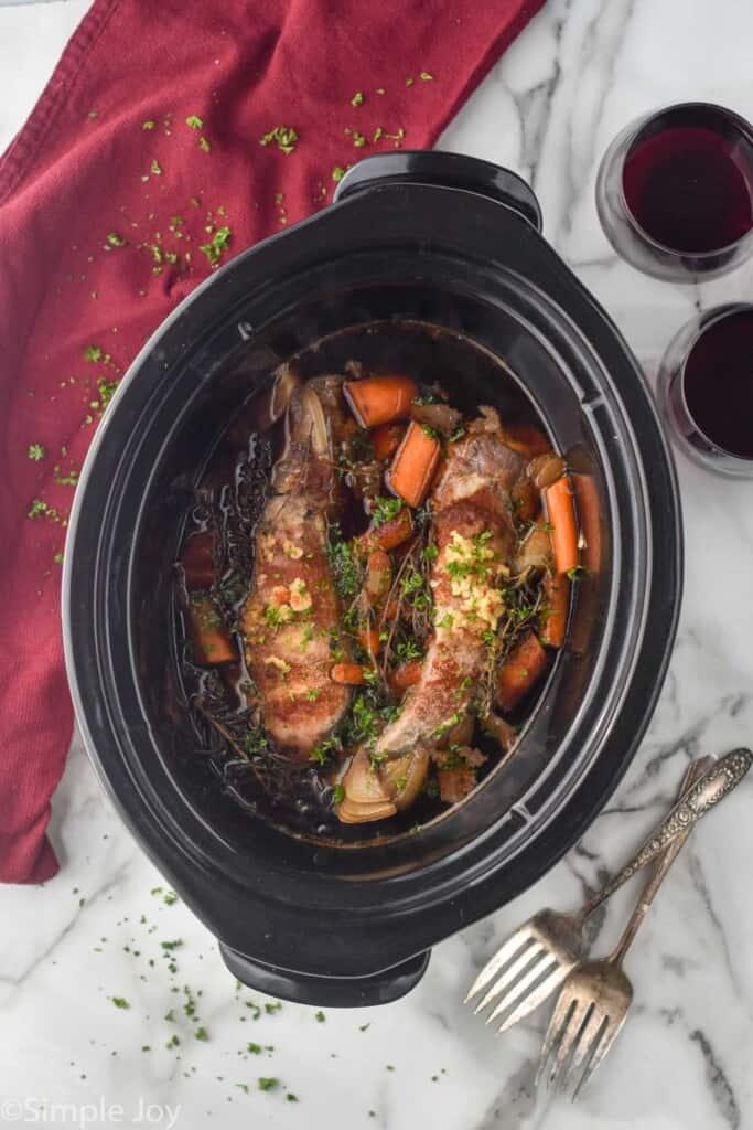 overhead photo of slow cooker pork tenderloin in the crock pot