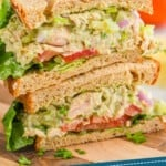 pinterest graphic of two half avocado tuna salads stacked on top of each other