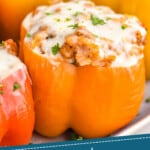 pinterest graphic oup close picture of an orange stuffed pepper