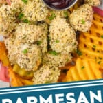 pinterest graphic of close up of homemade chicken nuggets in a basket with a small dish of bbq sauce and fries