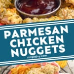 pinterest graphic of parmesan crusted chicken nuggets