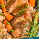 pinterest graphic of close up of slow cooker pork tenderloin