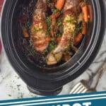 pinterest graphic of overhead of a crockpot with pork tenderloin