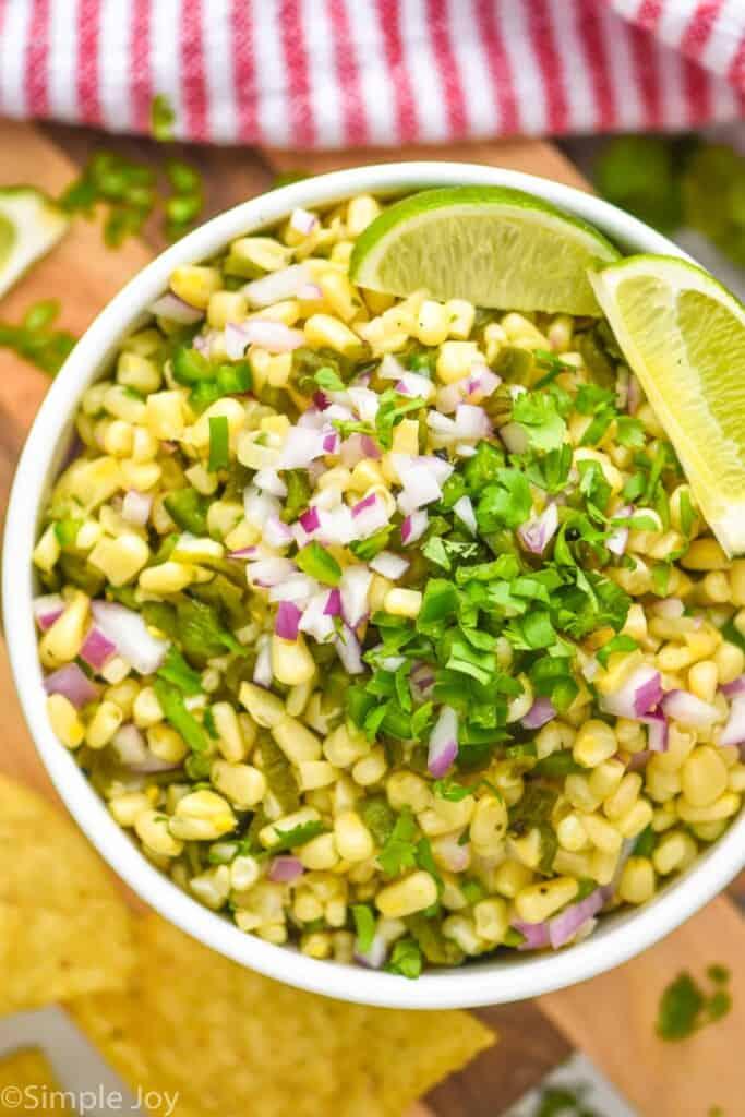 overhead of chipotle corn salsa recipe in a white bowl