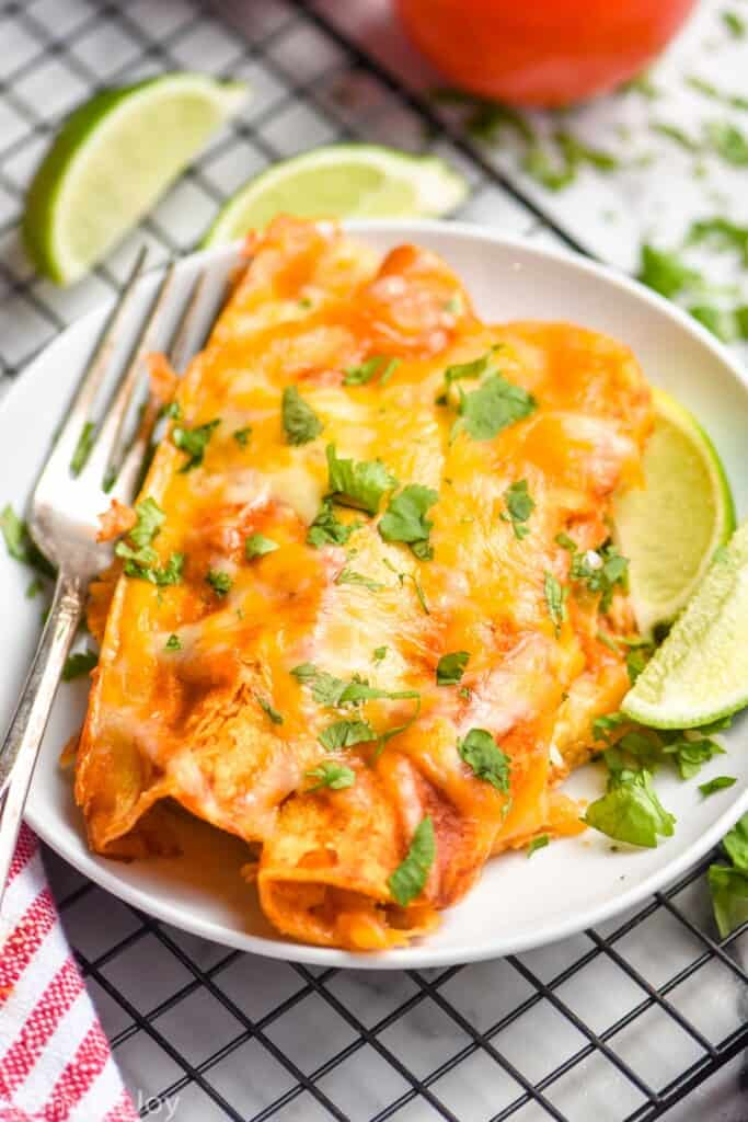 two chicken enchiladas on a plate topped with fresh cilantro