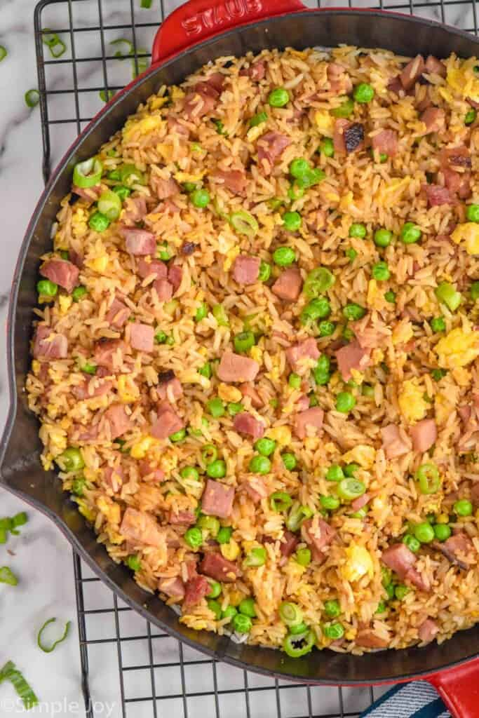 overhead of a pan of ham fried rice