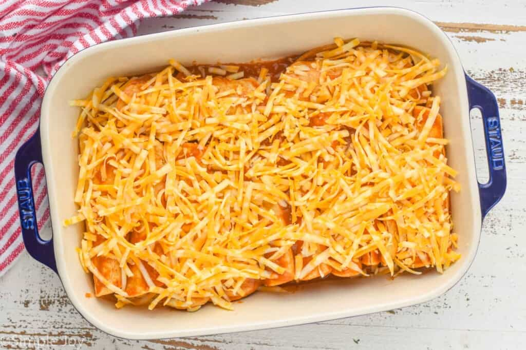 overhead of a casserole dish full of chicken enchiladas topped with shredded cheese
