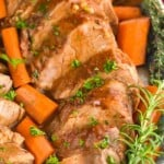 close up of slow cooker pork tenderloin