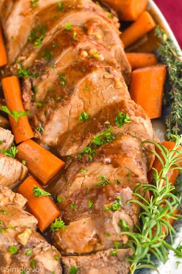 close up of slow cooker pork tenderloin