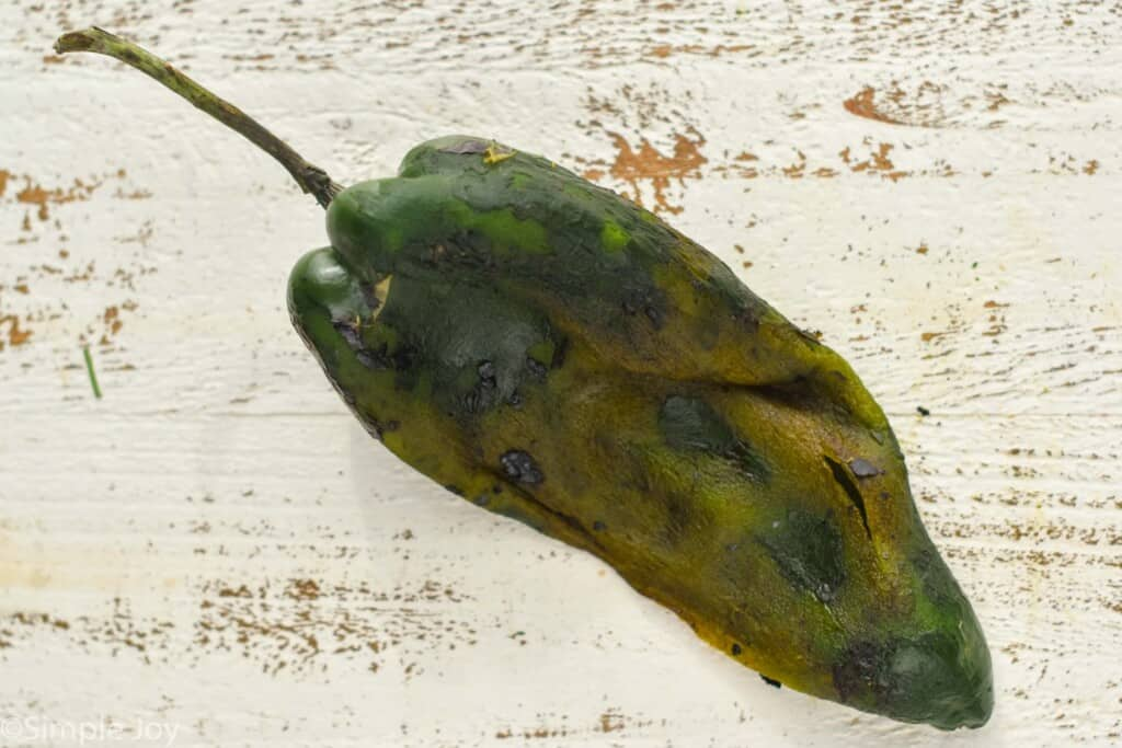 a roasted poblano pepper with the skin removed