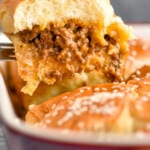 pinterest graphic of a cheeseburger slider being pulled out of a pan